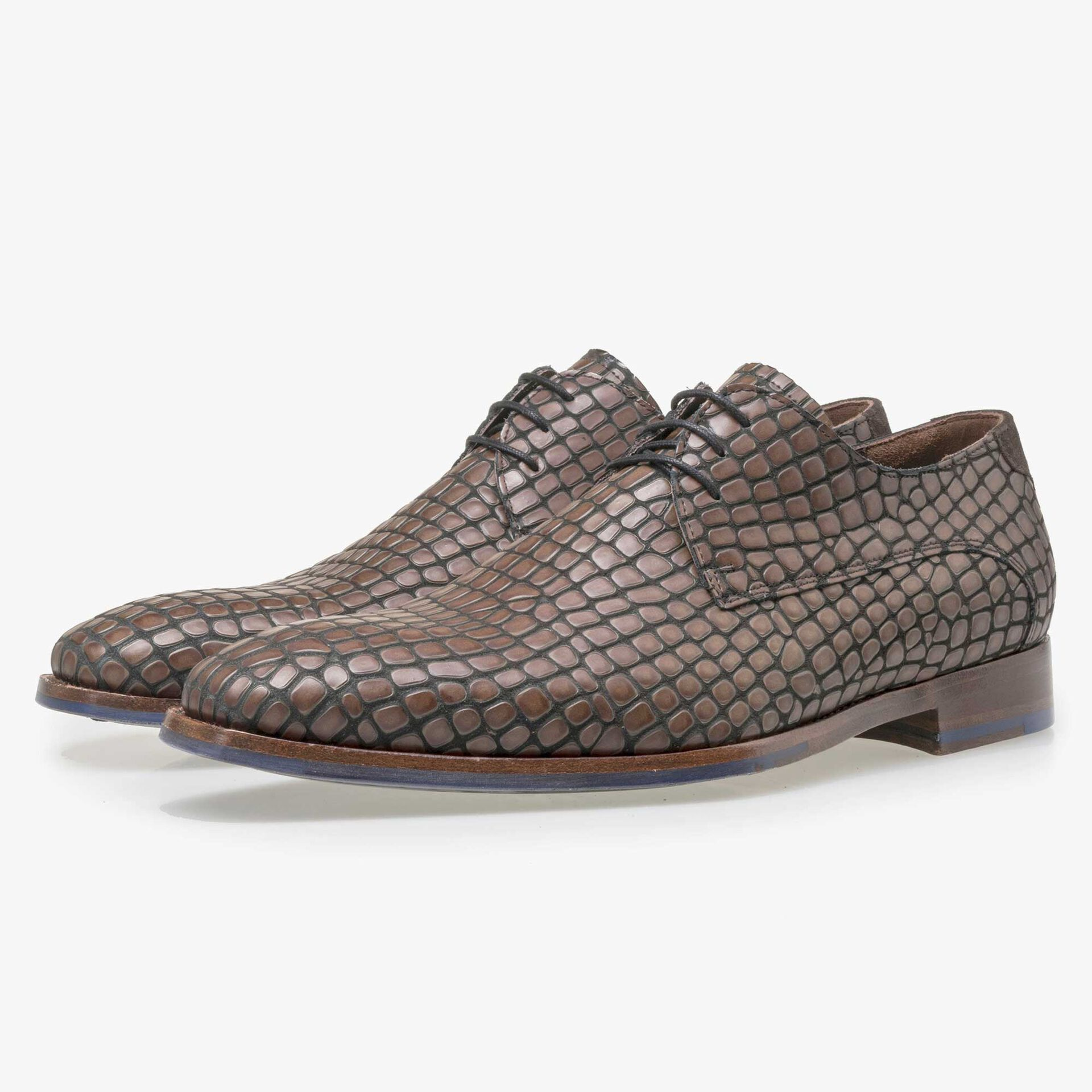 Floris van Bommel black calf's leather lace shoe finished with a brown reptile pattern