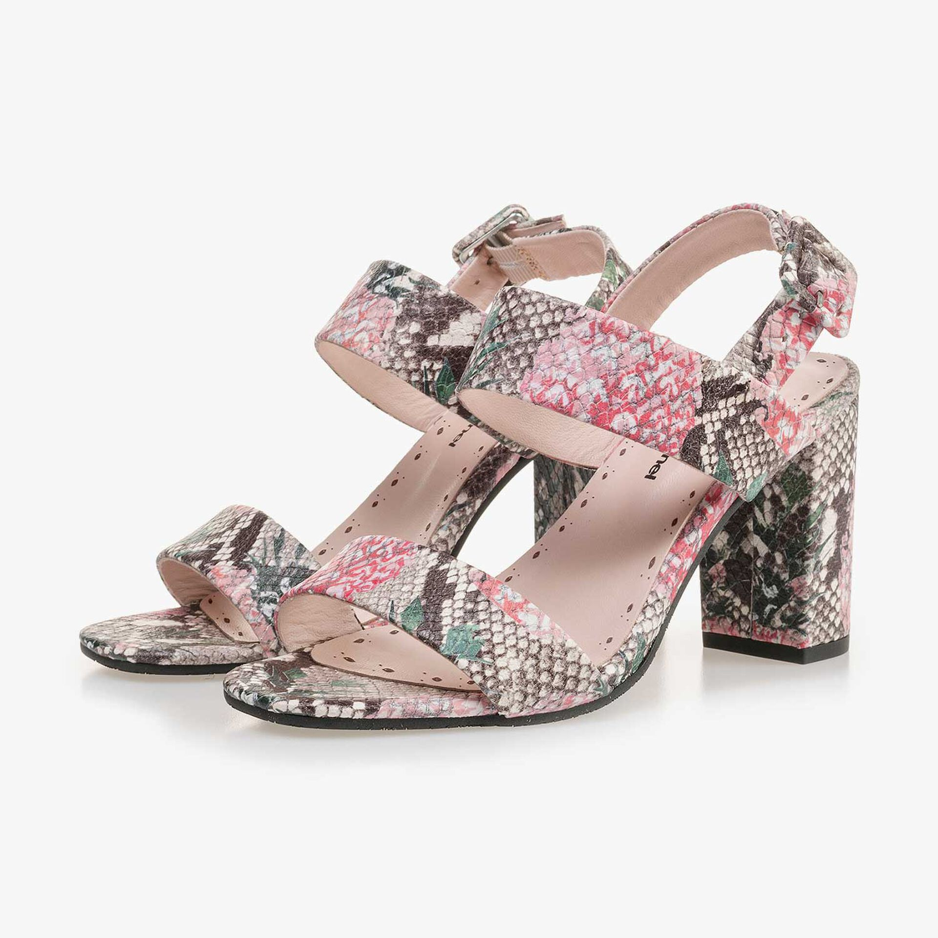 Multi-coloured leather sandal with printed motif