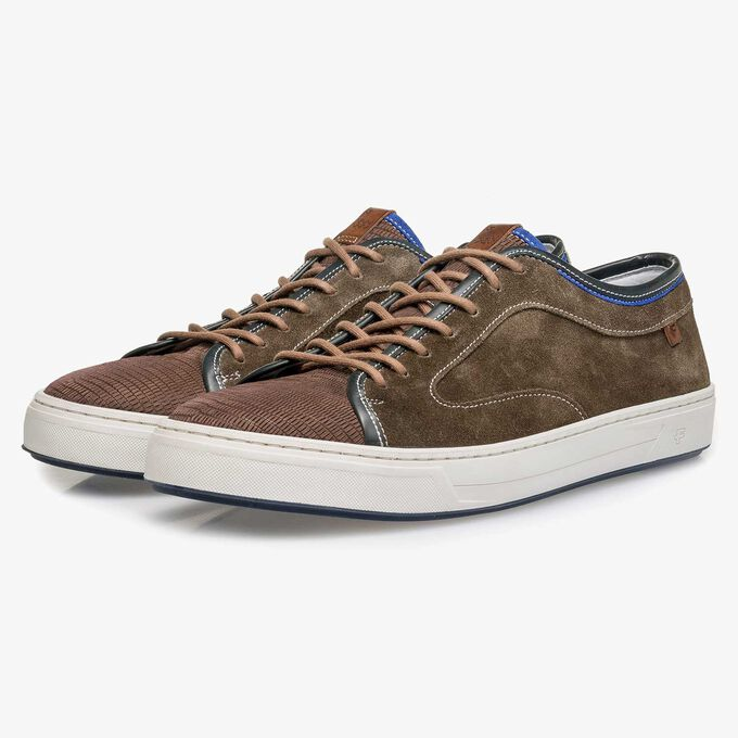 Dark brown calf suede leather sneaker with a lizard print