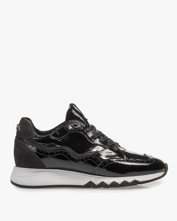 Black patent leather sneaker