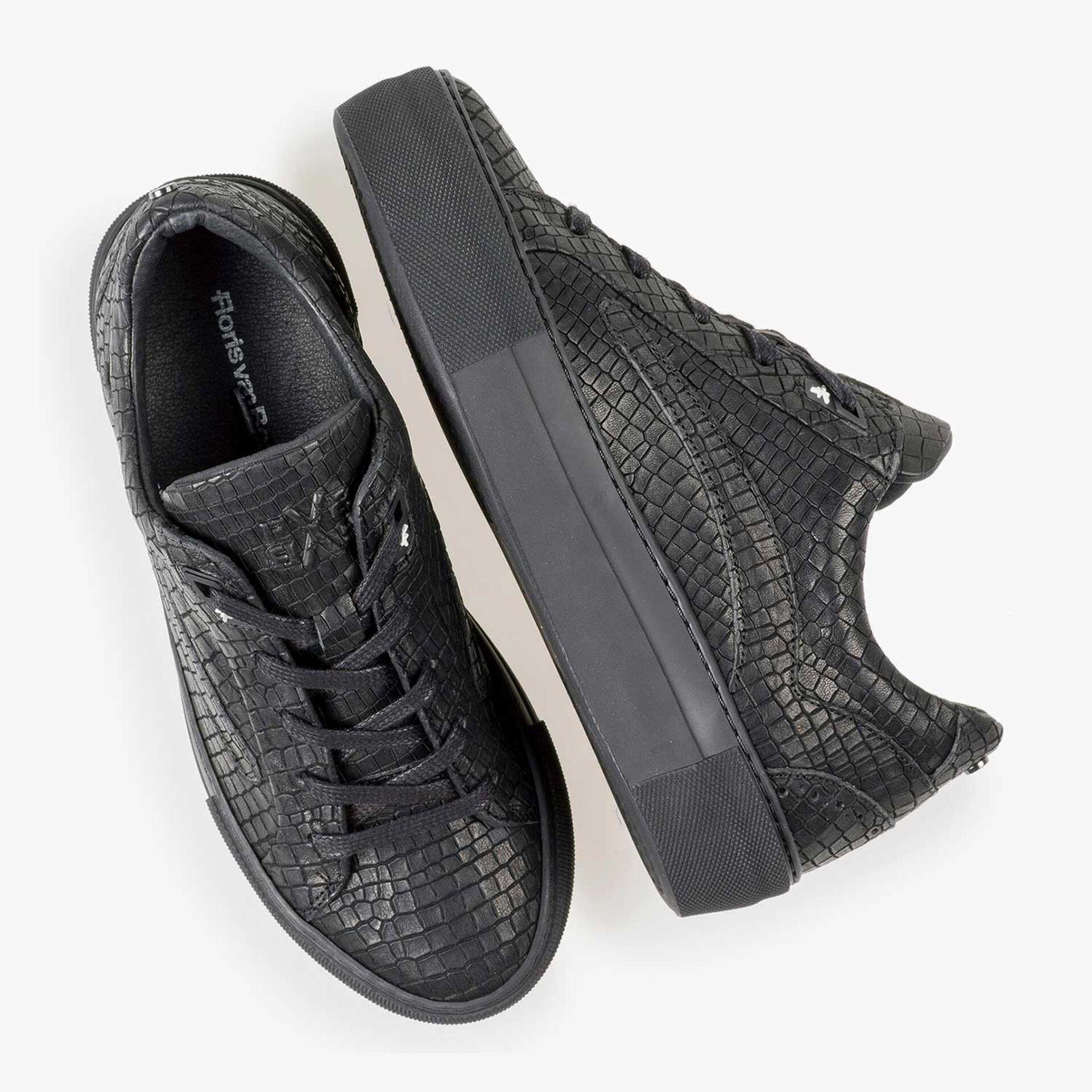 Zwarte leren sneaker met crocoprint