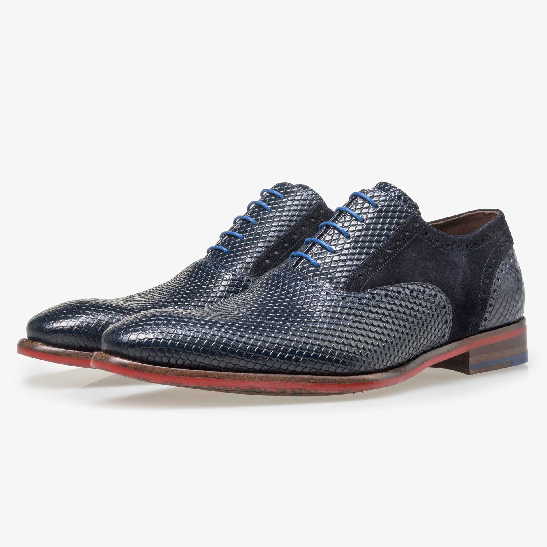 Floris van Bommel men's dark blue leather lace shoe