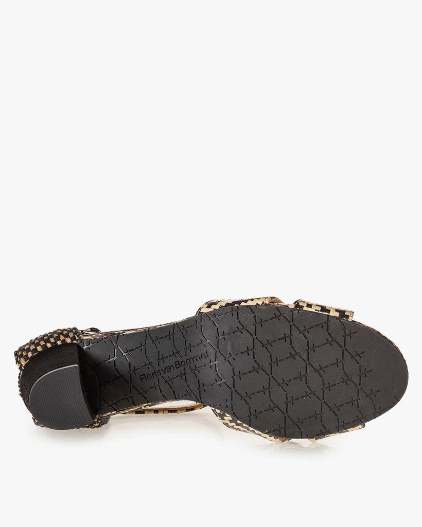 Sandaal geprint leer zwart/wit