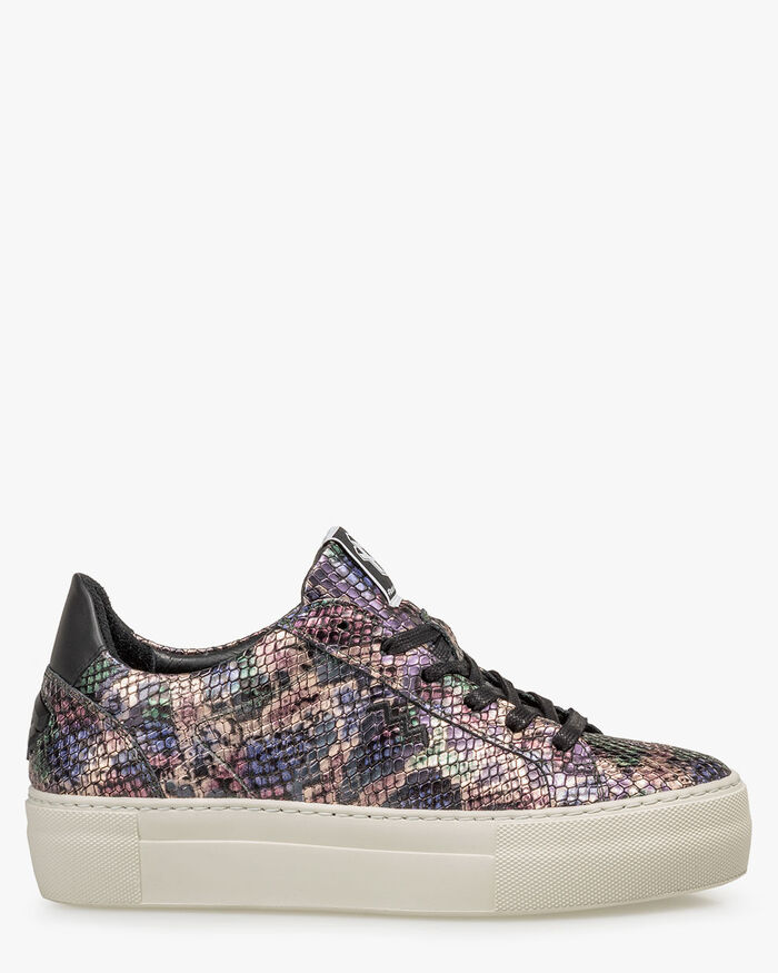 Sneaker metallic print roze