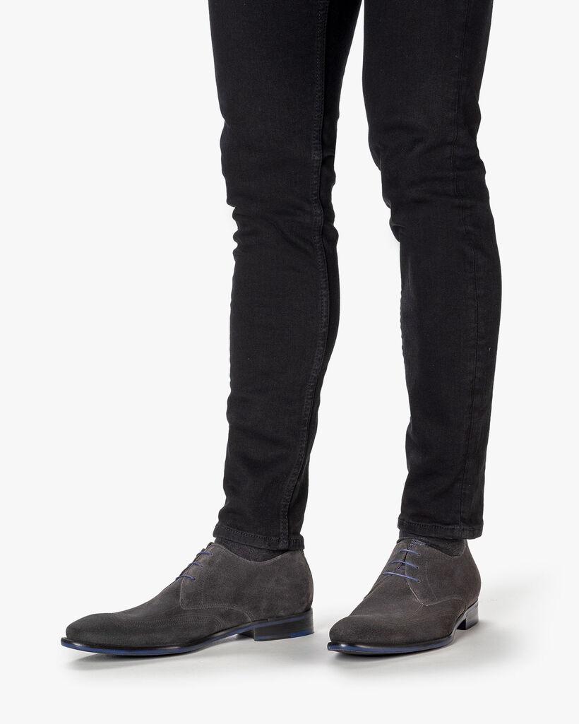 Lace shoe suede dark grey