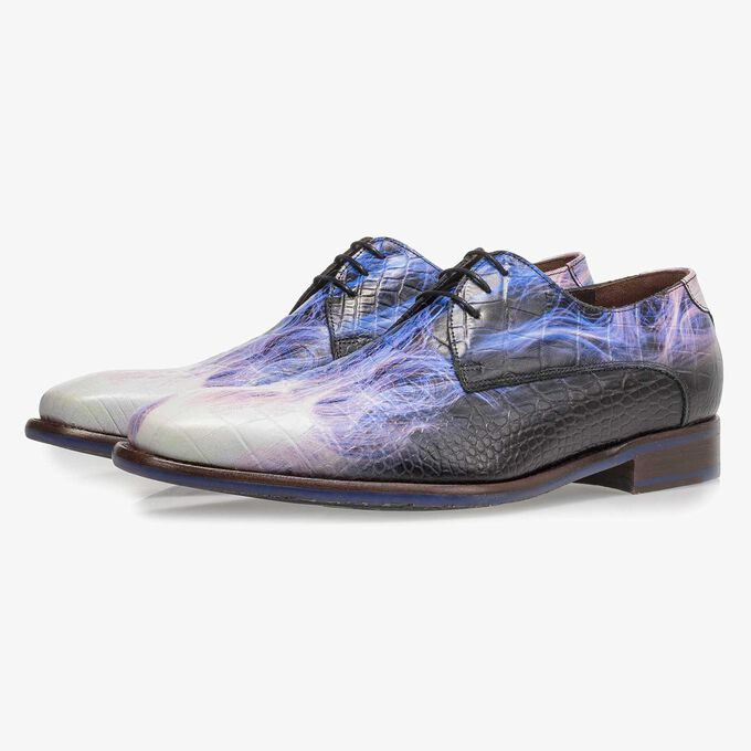Premium purple calf leather lace shoe with lightning bolt print