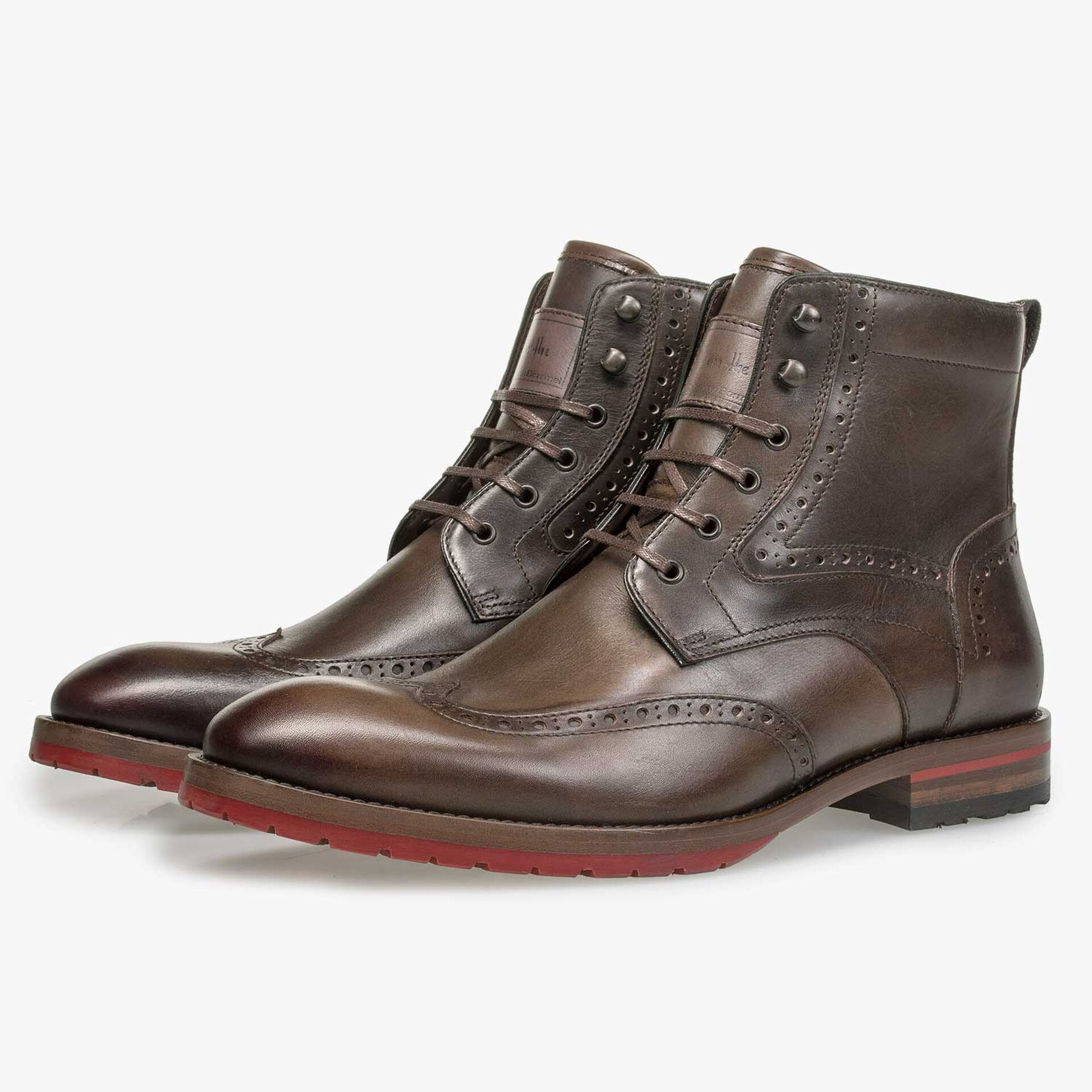 Dark brown calf leather brogue lace boot