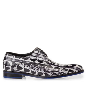 Veterschoen crocoprint zwart/wit