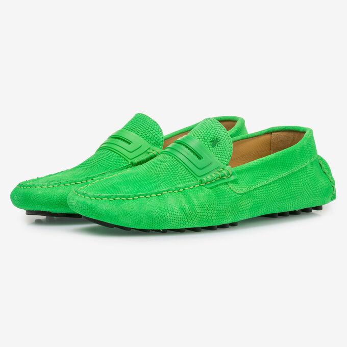Premium leren mocassin fluor groen