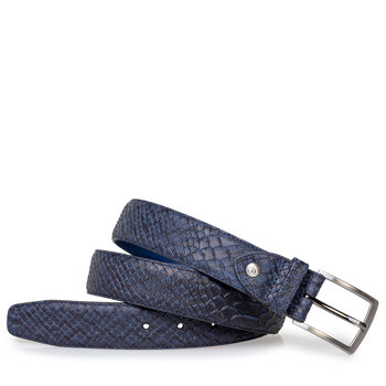 Belt blue nubuck leather