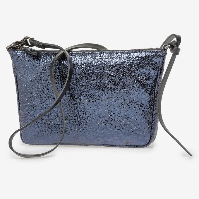Donkerblauwe leren tas met metallicprint