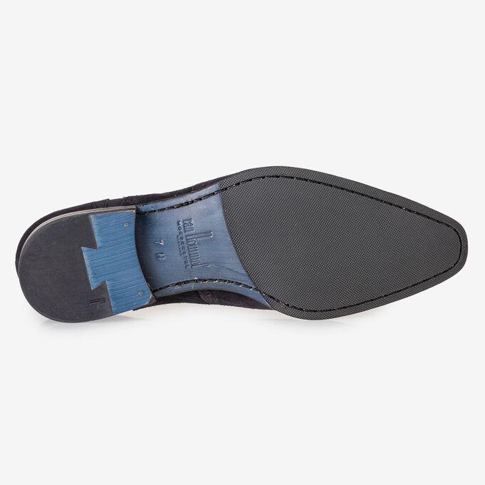 Dark blue suede leather brogue