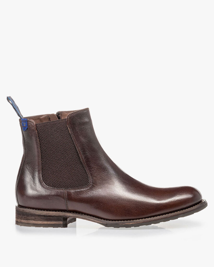 Lambskin lined brown Chelsea boot