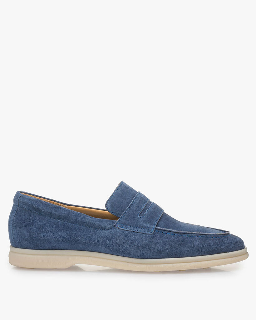 Blue suede leather loafer