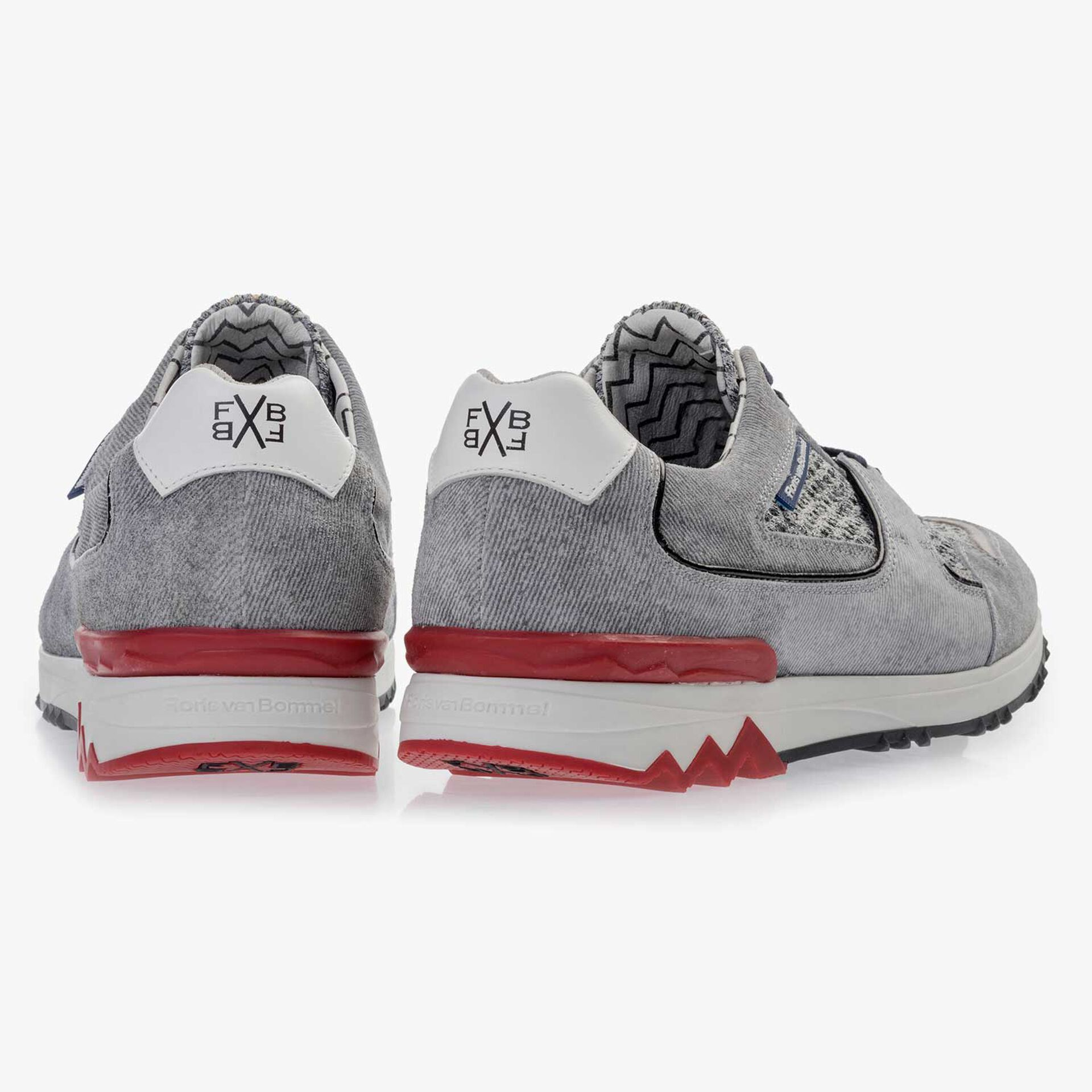 Light grey, printed suede leather sneaker