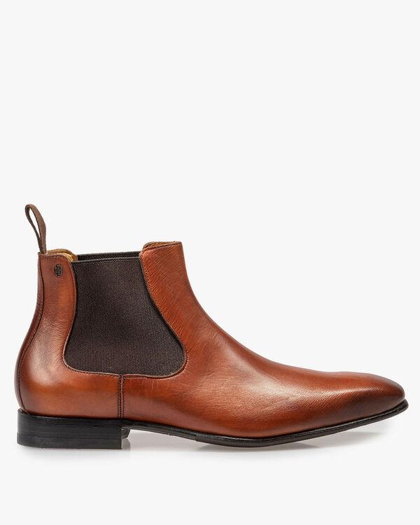 Dark cognac-coloured calf leather Chelsea boot