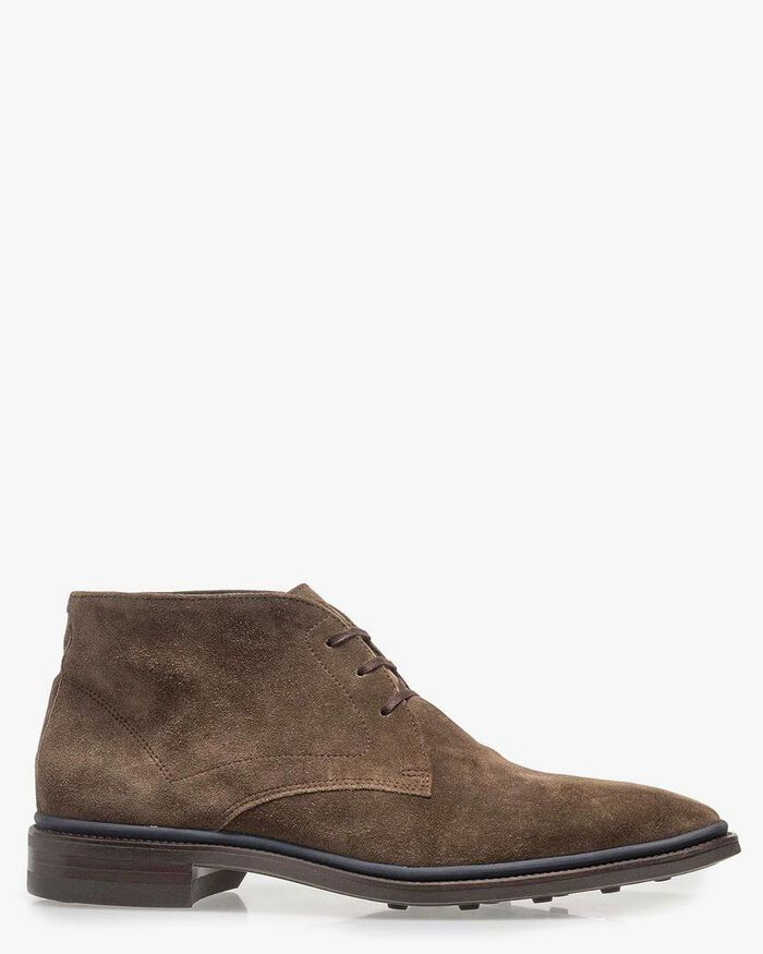 Lace boot suede leather taupe