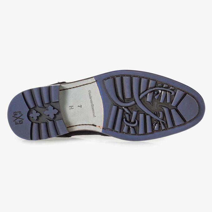 Dark blue calf suede lace boot