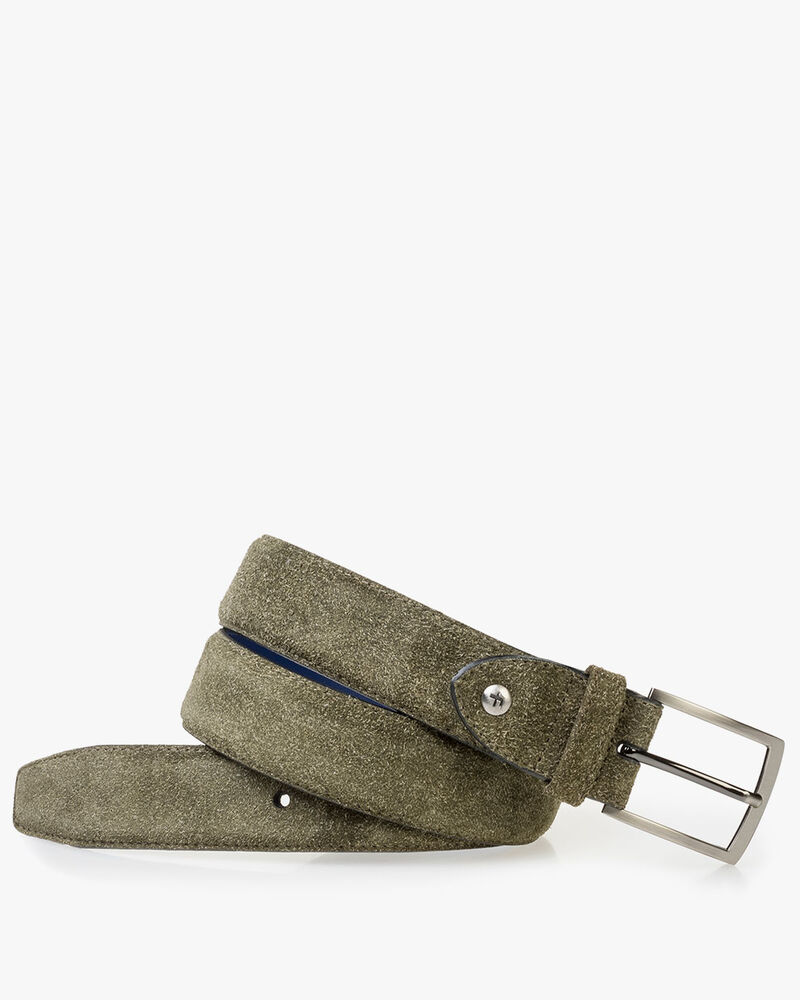 Green rough suede leather belt