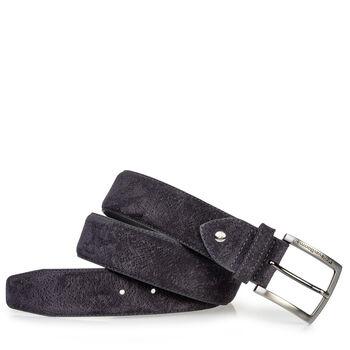 Suede leather belt dark blue