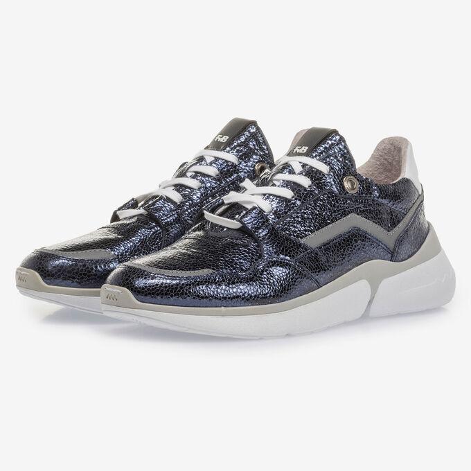 Dark blue leather sneaker with metallic print