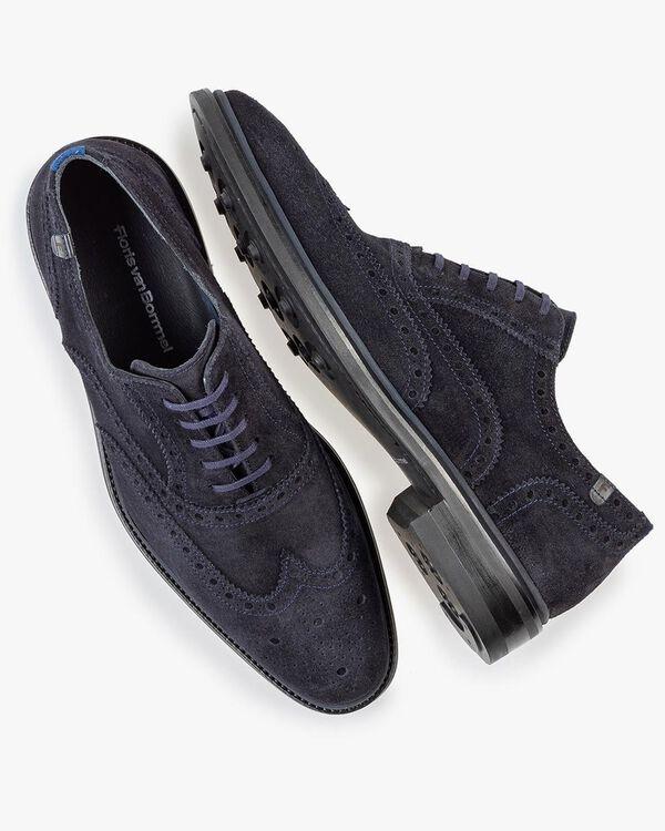 Brogue suede leather dark blue