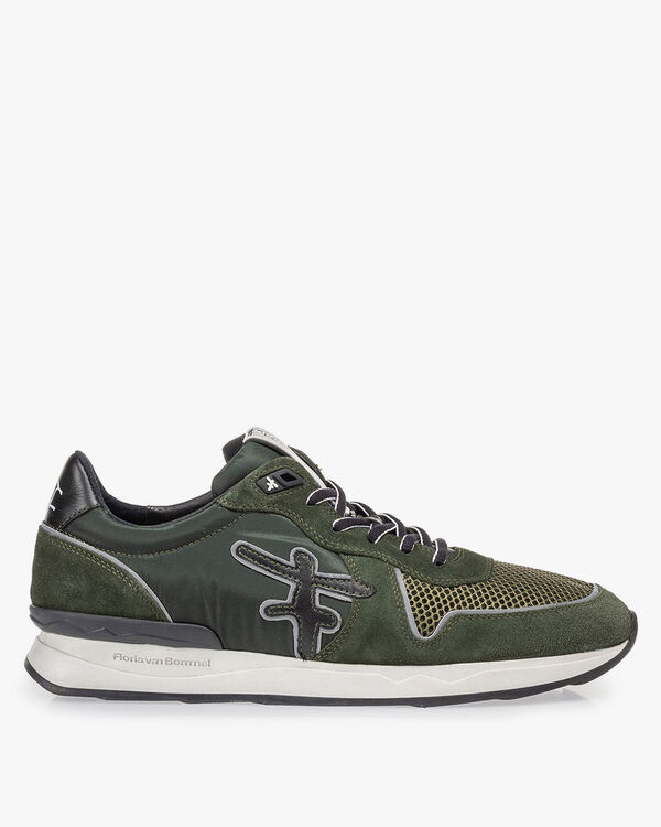 Sneaker dark green suede leather