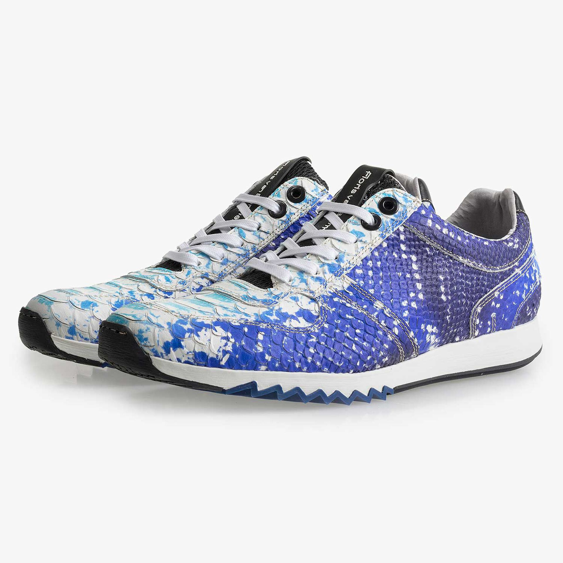 Blue leather sneaker with snake print