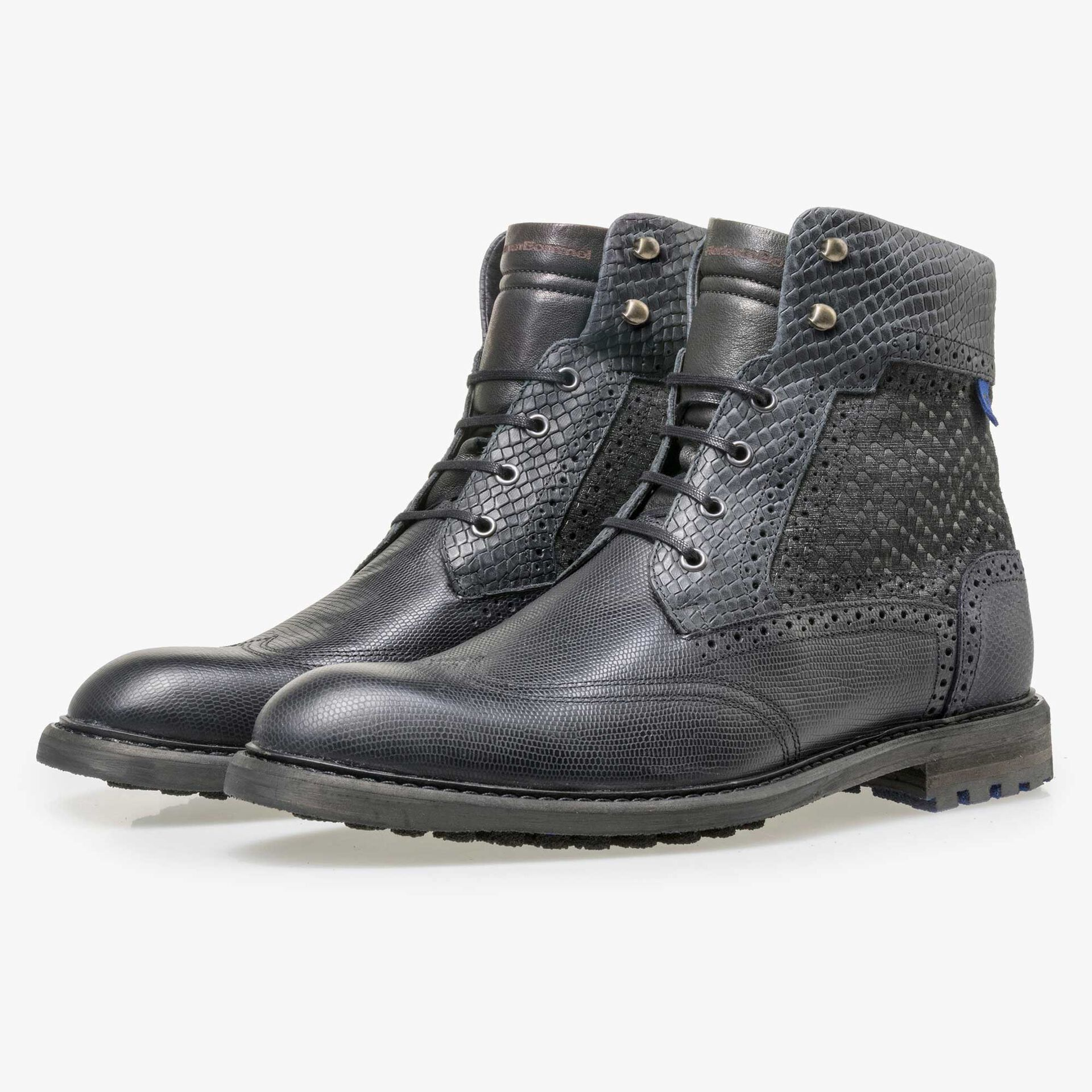 Floris van Bommel black high leather lace boot finished with a snake print
