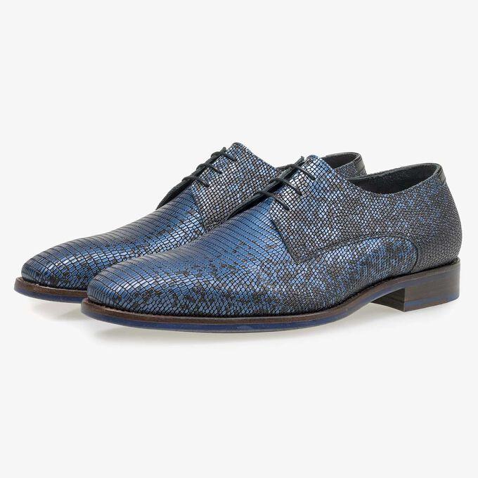 Black premium lace shoe with blue metallic print