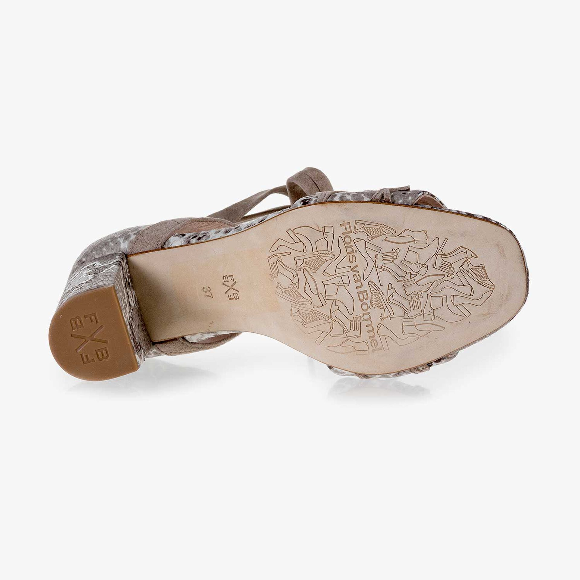 Taupekleurige suède sandaal met snakeprint