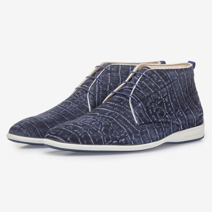 Blauwe veterboot met crocoprint