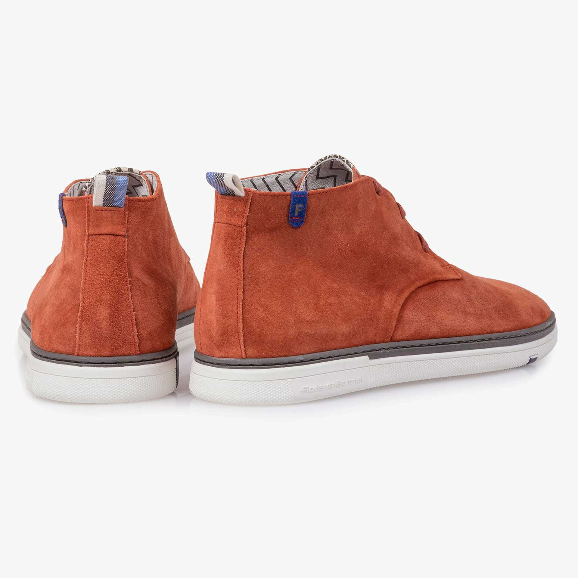 Orange-coloured slightly buffed suede leather boot