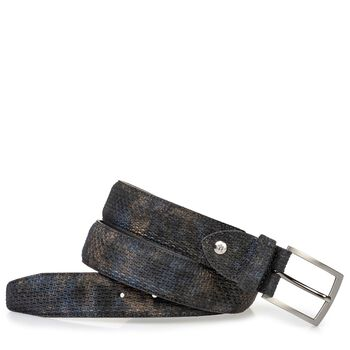 Suede leather belt bronze with print
