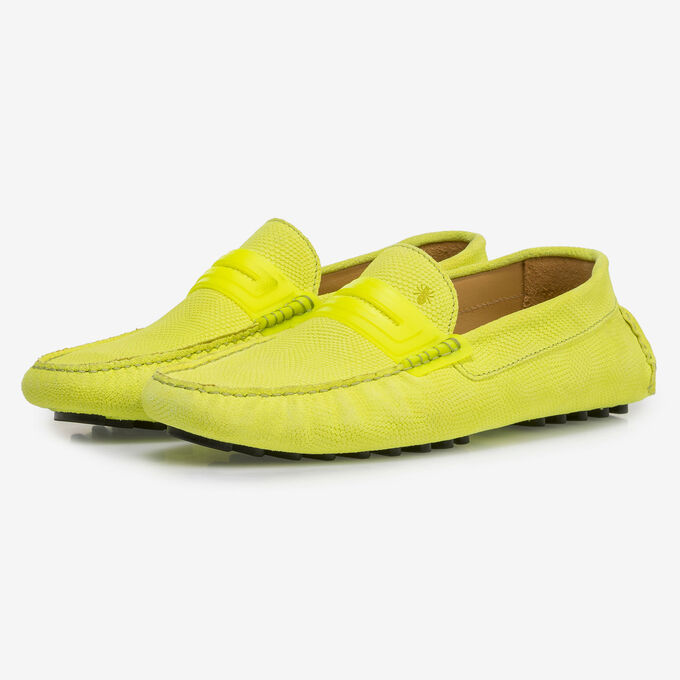 Premium fluorescent yellow leather moccasin