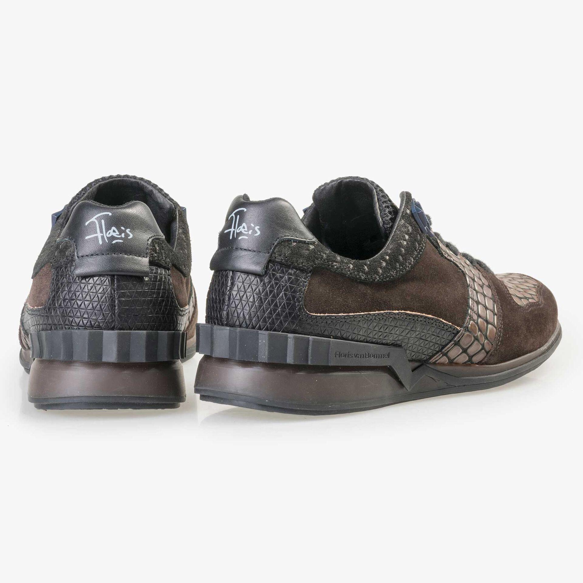 Floris van Bommel Premium donkerbruin leren sneaker