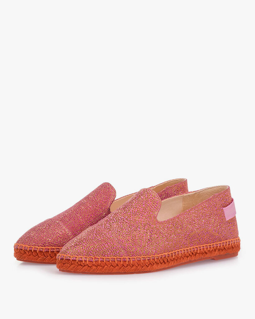 Pink leather espadrilles with metallic print