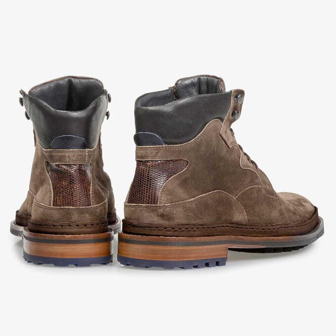 Suède veterboot donker taupe