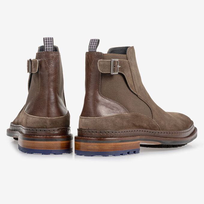 Chelsea boot suède donker taupe