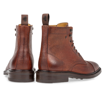 Boot leather with print cognac