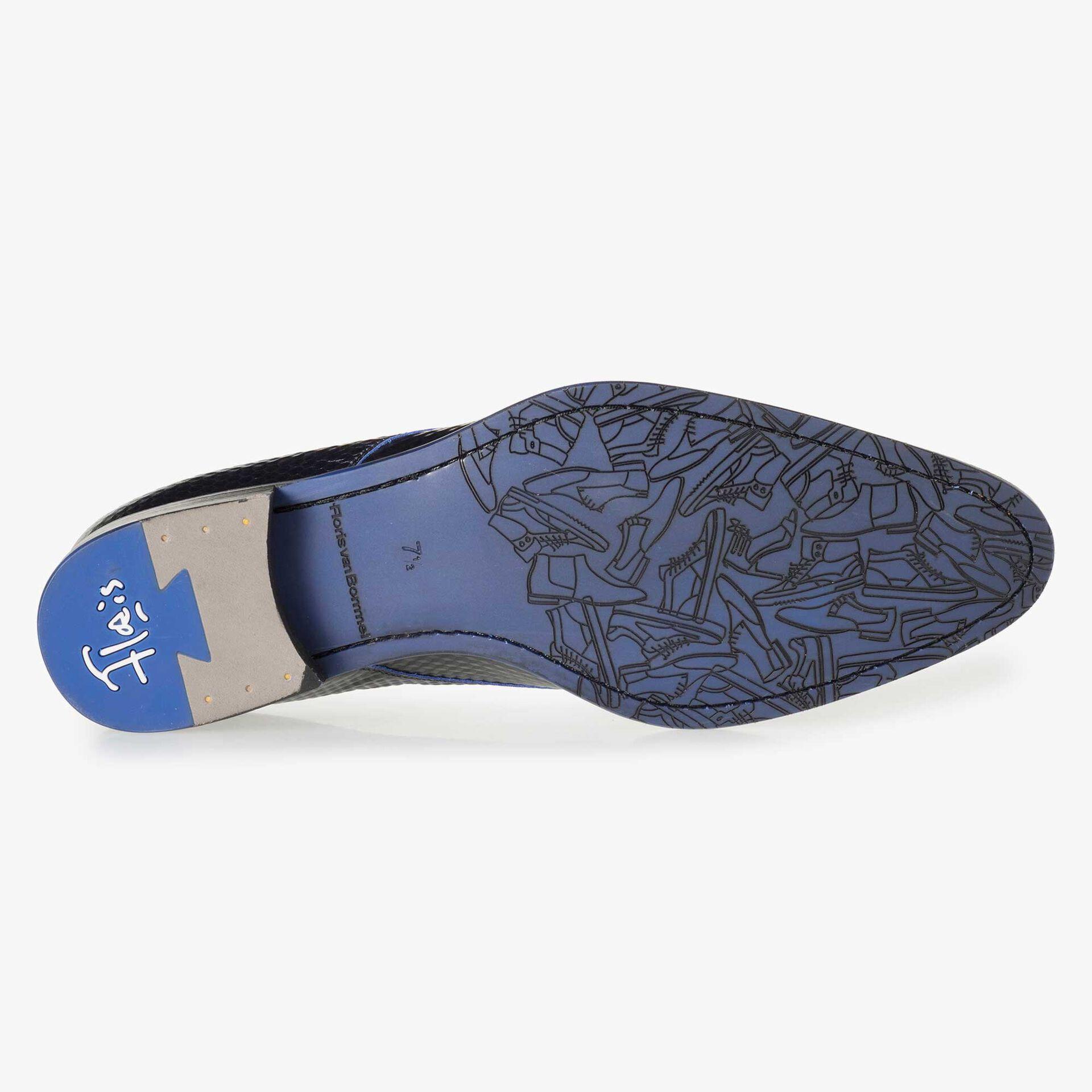 Floris van Bommel felblauwe leren heren veterschoen