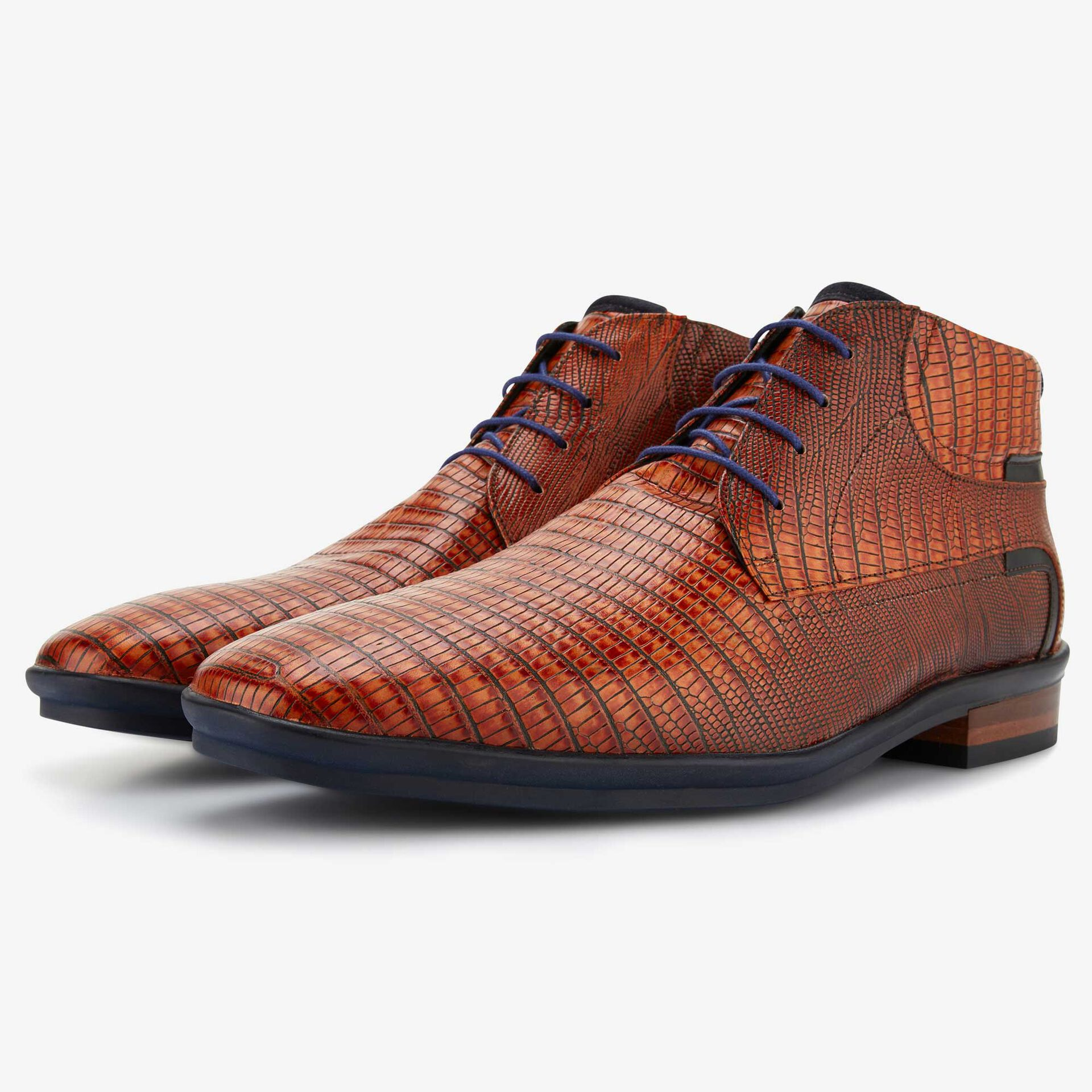 Floris van Bommel cognac lizardprint veterboot