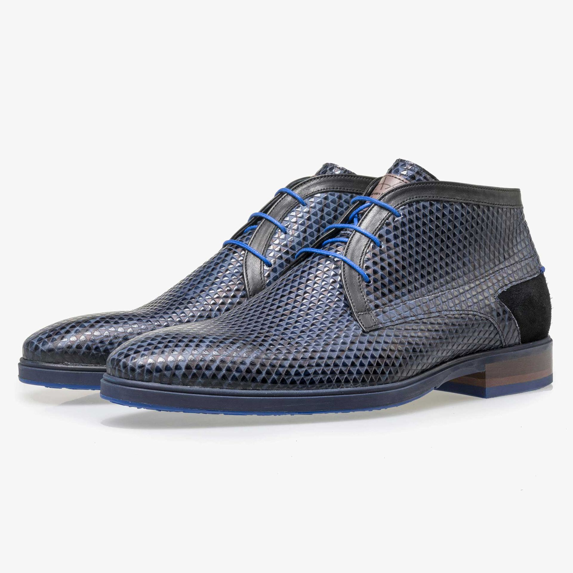 Floris van Bommel men's blue lace boot finished with a triangular pattern