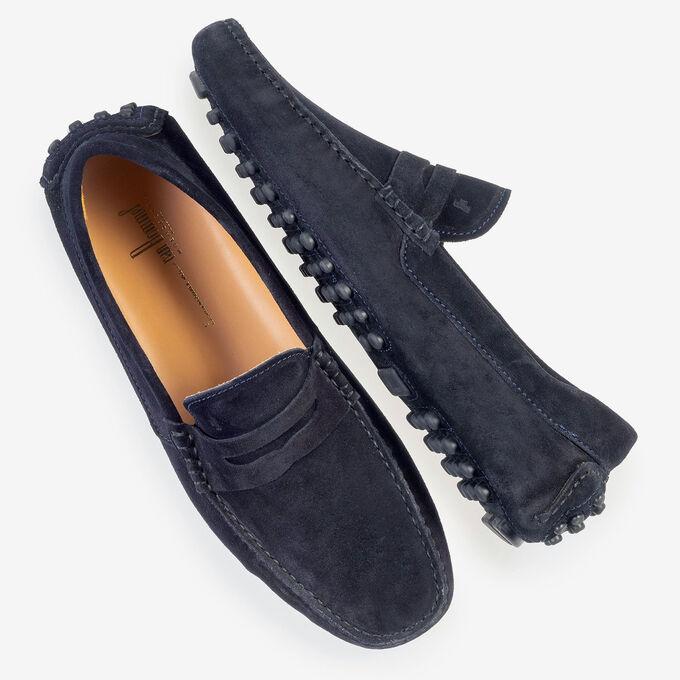 Dark blue suede leather moccasin