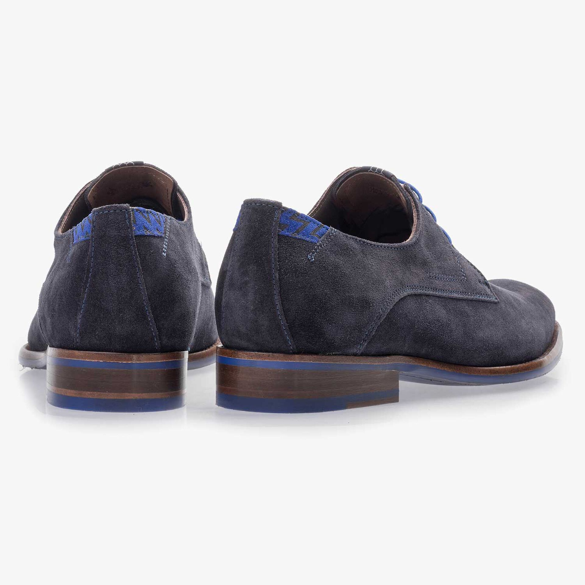 Dark blue suede leather lace shoe