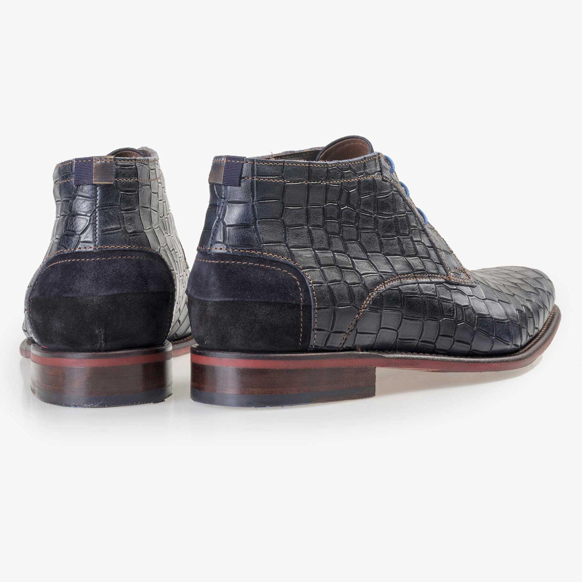 Floris van Bommel men's blue crocodile print lace boot