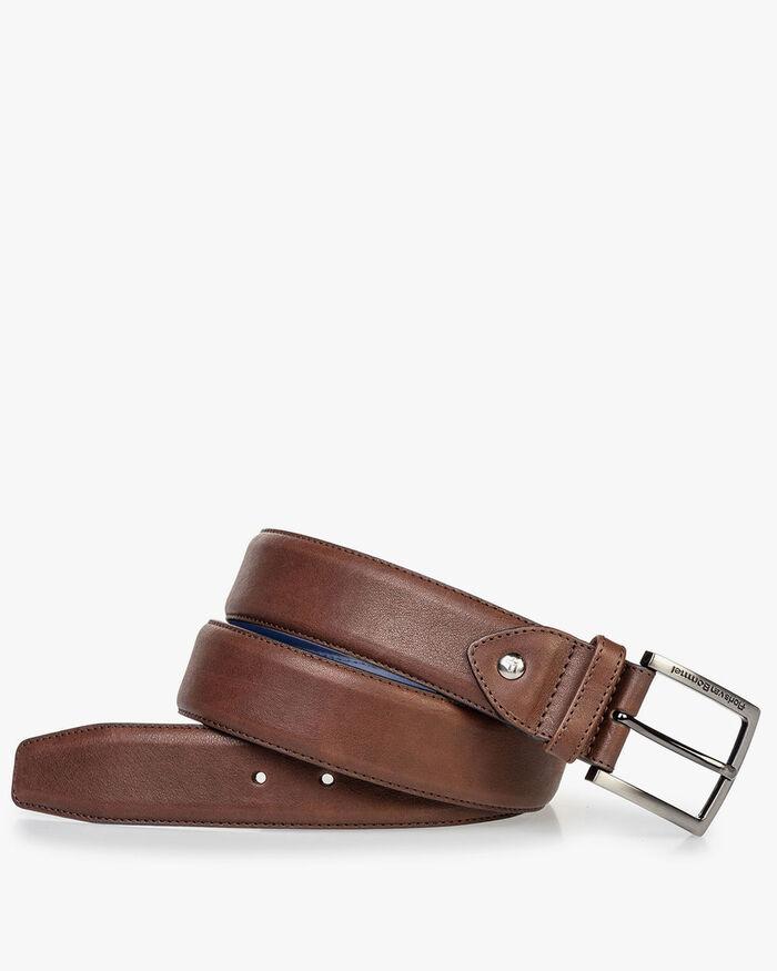 Calf leather belt dark brown
