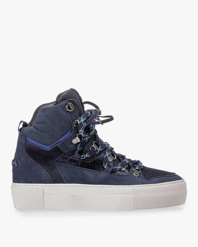 Halfhoge sneaker nubuckleer blauw