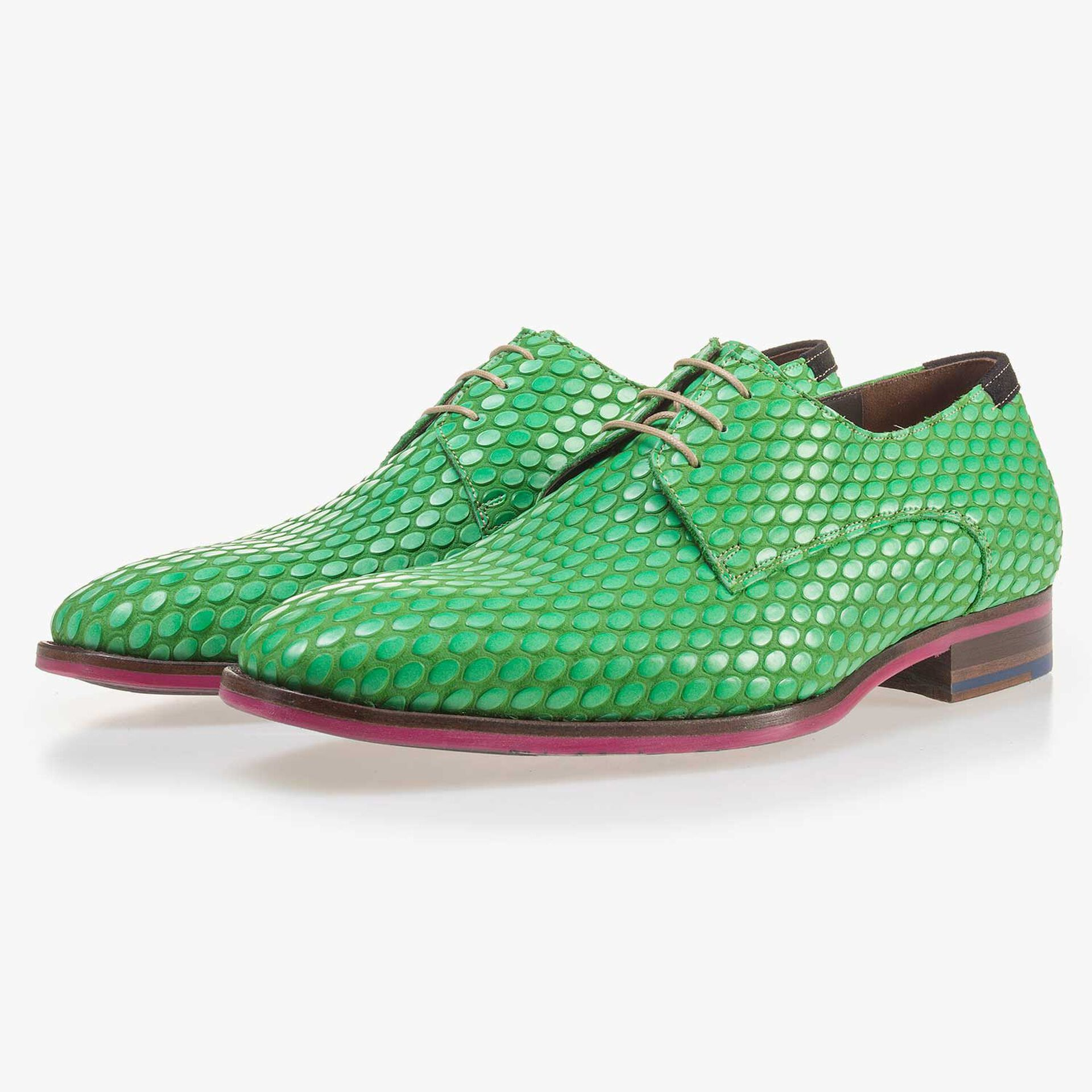 Premium green leather lace shoe