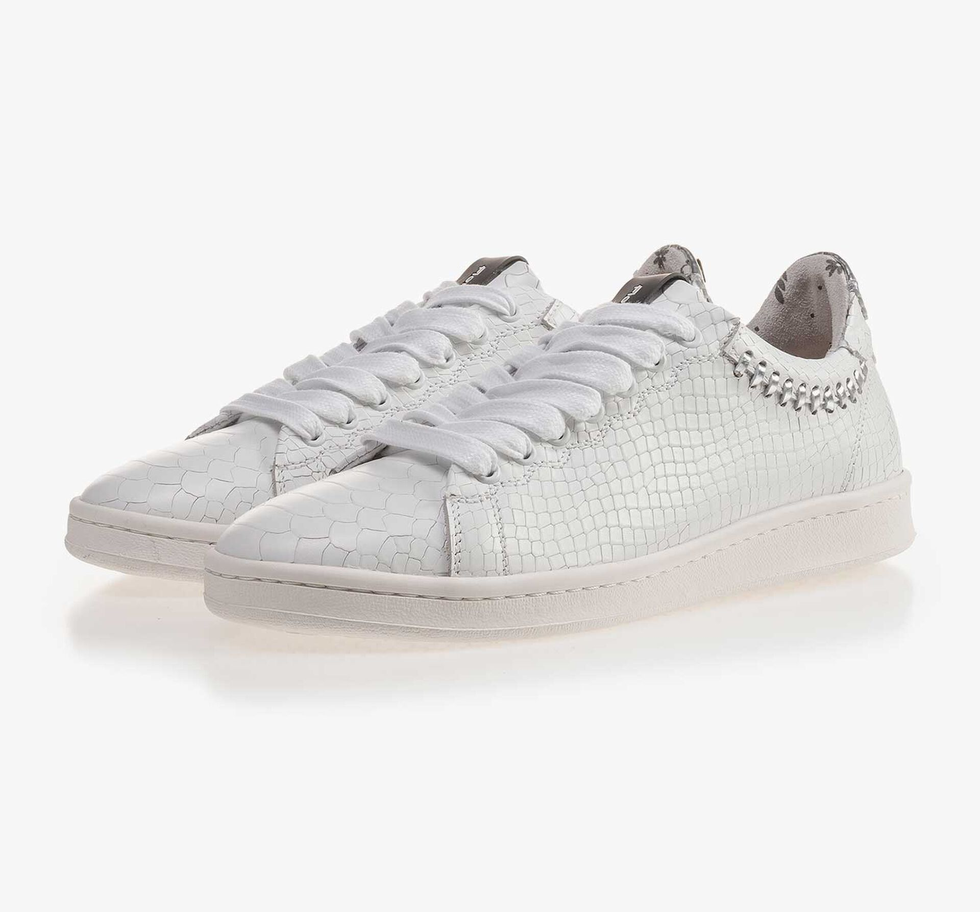 White leather sneaker with snake print